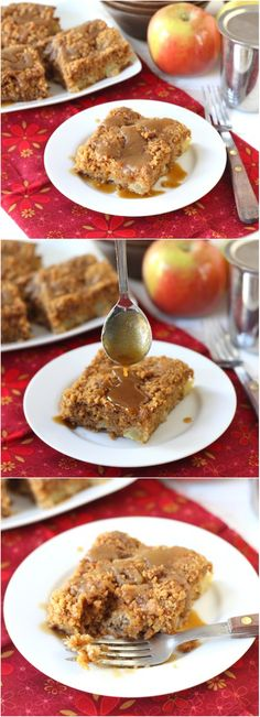 Apple Coffee Crumb Cake with Brown Sugar Glaze on twopeasandtheirpod.com This apple cake is great for breakfast or dessert! #apple
