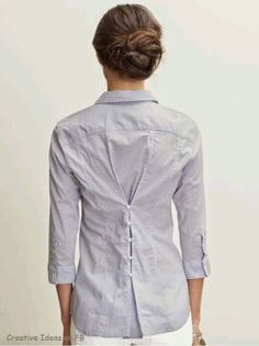 Best of Men's Shirt Refashioning Way to upcycle a too-big shirt.Way to upcycle a too-big shirt. Sewing Hacks, Sewing Tutorials, Sewing Crafts, Diy Crafts, Upcycled Crafts, Sewing Tips, Repurposed, Diy Clothing, Sewing Clothes