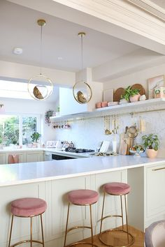 Renovation Complete: The Reveal of Our Green Pink and Gold Kitchen - Swoon Worthy. I love lightness and airy feel of this kitchen with the white, pink, gold and green. Green Kitchen, New Kitchen, Kitchen Ideas, Pink Kitchen Decor, 10x10 Kitchen, Awesome Kitchen, Kitchen Small, Kitchen Hacks, Kitchen Furniture