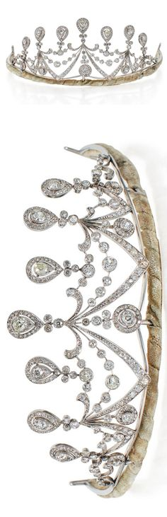Diamond Tiara Decorated with swag motifs, set with numerous old European-cut diamonds; circa 1910. Image Sotheby's. http://www.sothebys.com/en/auctions/ecatalogue/2017/fine-jewels-n09692/lot.144.html