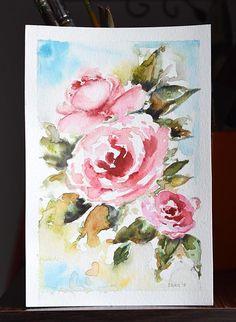 Original Watercolor Flower Painting Rose Painting Pink Red