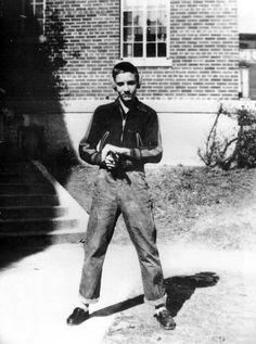 Elvis Presley in front of school