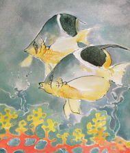 obrazy jedwab zwierzęta inne ręcznie malowane obraz malowany ręcznie na jedwabiu - dwie rybki w rafie