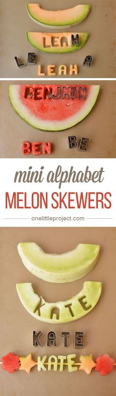 These mini alphabet melon skewers are a fun and healthy snack idea! Cut out the letters from fresh fruit and slide them onto a skewer!