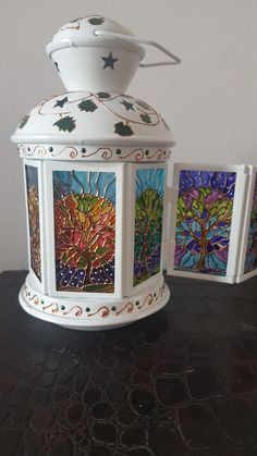 Glass Block Crafts, Glass Bottle Crafts, Bottle Art, Stained Glass Lamp Shades, Stained Glass Paint, Painted Leaves, Hand Painted, Lanterns Decor, Painted Wine Glasses