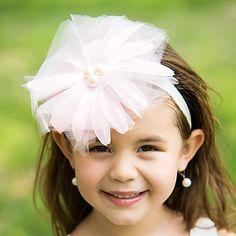 Tulle Flower Girl Kids' Flower Headband Headpiece With Pearl – USD $ 4.99