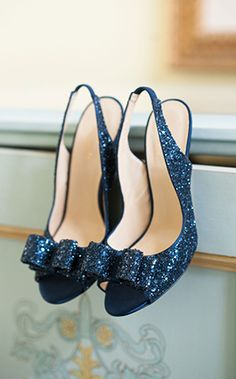 """We love these pumps that make the bride's """"something blue"""" sparkle! #blue #heels"""