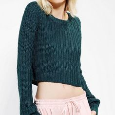 Urban Outfitters Shaker Cropped Sweater Cropped short, this shaker-stitch Kimchi Blue sweater is pretty perfect. *NOTE: first pic is true to color, my room's lighting makes the sweater look darker than it actually is. Urban Outfitters Sweaters