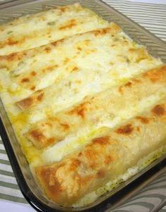 White Chicken Enchiladas - one pinner- went to a dinner party last weekend had these enchiladas. They were SO good! SO creamy and delicious! No Cream of Anything Soup in them either! Wishing I had some leftovers for dinner tonight.