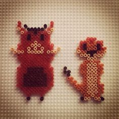 Timon and Pumbaa - The Lion King hama beads by hadavedre
