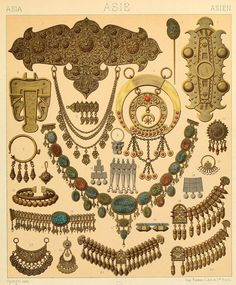 """JEWELLERY - various Persian, Arabian and Turkic examples: drawings from """"Le costume historique(…)"""" by Auguste Racinet, Ancient Jewelry, Antique Jewelry, Perse Antique, Ancient Persian, Persian Pattern, Magical Jewelry, Jewelry Drawing, Arabian Nights, Tribal Jewelry"""