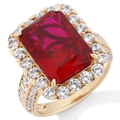 Jean Dousset Sterling Vermeil 8.84ct Absolute Created Ruby Cocktail Ring Size 9 #JeanDousset #Cocktail #hsn