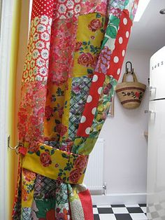 patch curtain to divide spaces by the vintage knitter