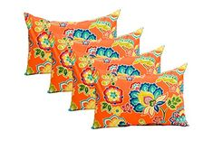 Set of 4 Indoor / Outdoor Decorative Lumbar / Rectangle Pillows - Orange and Blue Lily Floral Wall Seating, Patio Seating, Indoor Outdoor, Outdoor Swings, Lawn And Garden, Lily, Special Deals, Pillows, Orange