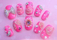 Hot Pink Swarovski Princess false/fake 3D nails with acrylic roses and pearls Valentines Day