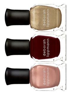 Loving this set of Deborah Lippmann nail polishes in pink, red and gold glitter.