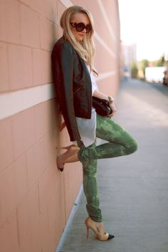 Printed pants and leather