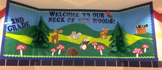 Camping / Woodland Animals Back to School bulletin board
