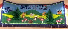 Camping / Woodland Animals Back to School bulletin board