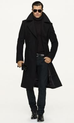 Classic Black Coat, Turtleneck, Jeans, and Shoes, by Ralph Lauren. In the words of RZ I Die. Look Fashion, Winter Fashion, Mens Fashion, Fashion Coat, Sharp Dressed Man, Well Dressed Men, Moda Formal, Style Masculin, Look Street Style