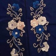 Discover thousands of images about helen wolf Zardosi Embroidery, Hand Work Embroidery, Embroidery Motifs, Silk Ribbon Embroidery, Embroidery Designs, Wolf, Charro, Eid Dresses, Hand Art