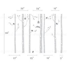 Birch Tree Decal Birds Wall Sticker Set Baby por SimpleShapes