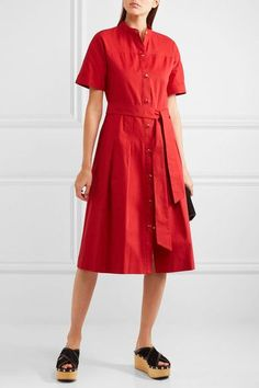 Vanessa Seward - Dune Belted Pleated Cotton-gabardine Dress - Red - FR