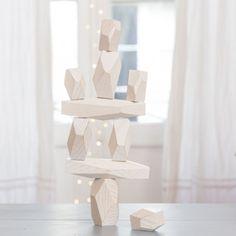 Jeu de construction en bois blanc