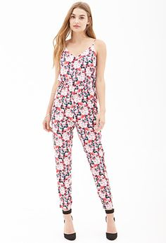 Rompers & Jumpsuits | WOMEN | Forever 21  Blurred Floral Cami Jumpsuit in Green/Red