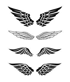 Illustration of wings collection set Premium Vector Flame Tattoos, Word Tattoos, Mini Tattoos, Small Tattoos, Tattoos For Guys, Wing Tattoo Designs, Angel Tattoo Designs, Art Drawings Sketches, Tattoo Drawings
