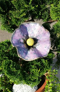 Keramická květina do květináče Keramická glazovaná květina, 14 cm průměr květu, délka i se stonkem 43 cm. Sežerou - li vám slimáci květenu v zahradě, můžete jí nahradit touto stále kvetoucí. Krásně bude vypadat i v zeleni ve vašem květináči.