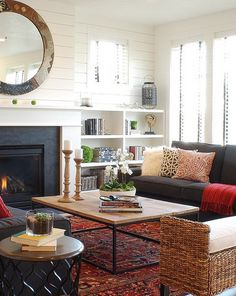 Dark Sofa and Rattan Chairs with Modern Fireplace in Small Living Room Interior Decorating Designs Ideas