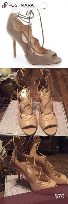 VINCE CAMUTO nude heels 👠 Beautiful beautiful Sandria lace up heels in good condition worn like 2 times Vince Camuto Shoes Heels