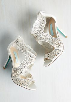 Something Bold, Something True Heel in Ivory by Betsey Johnson - Cream, Solid, Beads, Crochet, Rhinestones, Special Occasion, Prom, Wedding, Party, Cocktail, Bridesmaid, Bride, Homecoming, Luxe, Statement, Best, Peep Toe, Variation, Sparkly2015, High, Satin, Mixed Media