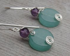 Stone Silver Earrings  Green Aventurine and by nicholasandfelice, $ 15.50