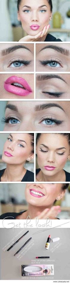 Makeup for blue eyes - Cat eyes and pink lipstick