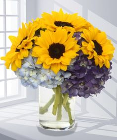 sunflower and hydrangia centerpeice | Sunflowers & Hydrangea Flower Arrangement, Carithers Flowers Atlanta ...