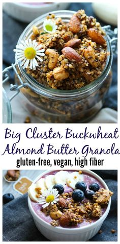 Amazing snack or topping for smoothies and yogurt! Gluten Free Granola, Gluten Free Treats, Gluten Free Recipes, Healthy Recipes, Healthy Meals, Snack Recipes, Dairy Free Options, Buckwheat, Almond Butter