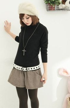Newly High Collar Sweater Black