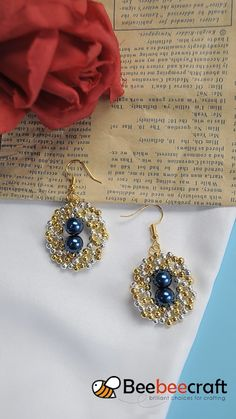 #Beebeecraft idea on making #earrings with #seed beads and #pearl beads
