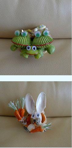 seashell frogs and rabbits. Seashell Painting, Seashell Art, Seashell Crafts, Beach Crafts, Rock Crafts, Diy And Crafts, Crafts For Kids, Arts And Crafts, Shell Animals