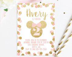 Minnie Mouse cumpleaños invitación fiesta rosa y por RockStarPress