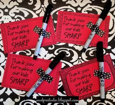 Teacher Appreciation idea for Valentines or anytime! Digital file available - print on colored paper, attach pen with washi tape. Easy!
