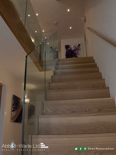 New oak flight with frameless glass balustrade – staircase Glass Bannister, Glass Stairs, Glass Railing, Banisters, Railings, Basement Staircase, Modern Staircase, House Stairs, Staircase Design