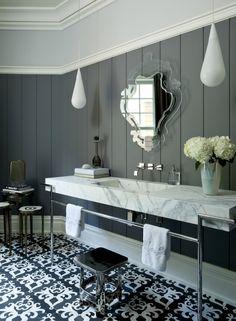 Suffern estate patterned bathroom floor