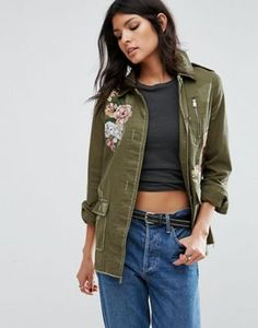 River Island Military Jacket With Floral Embroidery
