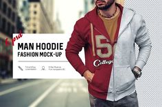Man Hoodie Fashion Mock-Up by RDK Design on @creativemarket