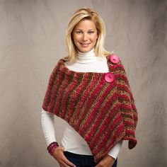 Premier® Yarns Serenity® Chunky Weight Knit Big Button Wrap #knit #pattern