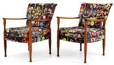 pair of Josef Frank mahogany armchairs Svenskt Tenn