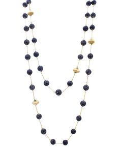 """18"""" Long Real Semi Precious Stone Necklace - EN1139-BLACK"""